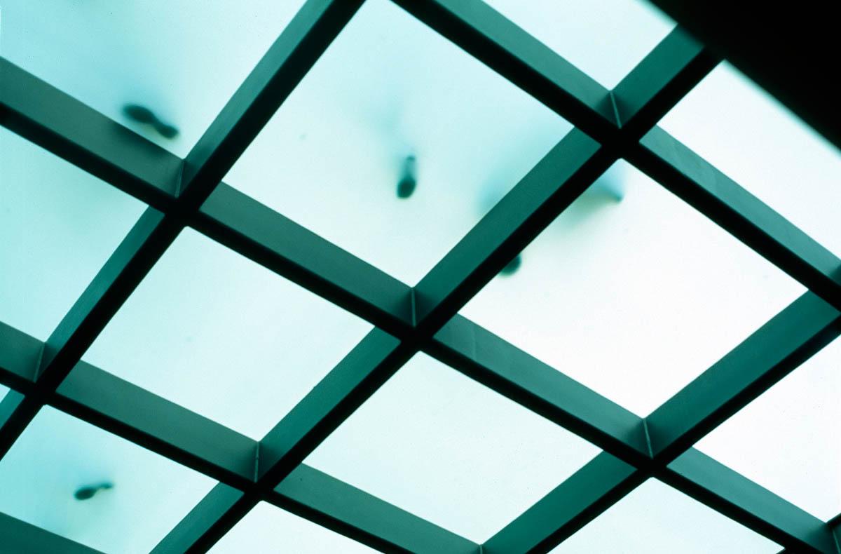 Foto der begehbaren Glasfläche im Hauptbahnhof Rostock von unten. Durch die transluzente Fläche fällt Licht in die unteririschen Bereiche und man erkennt schemenhaft die darauf laufenden Passanten.