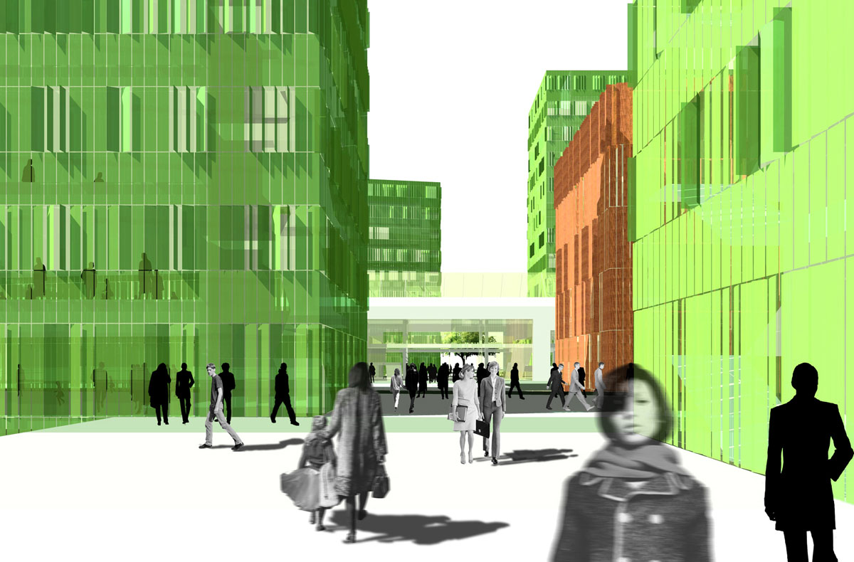 Blick von Norden in den Campus VonRoll-Areal der Universität Bern. Durch Anordnung der Baukörper entsteht eine städtebauliche Achse, die sich durch eine Passage im Hörraumzentrum weiter fortsetzt und so die beiden Seiten miteinander verbindet.