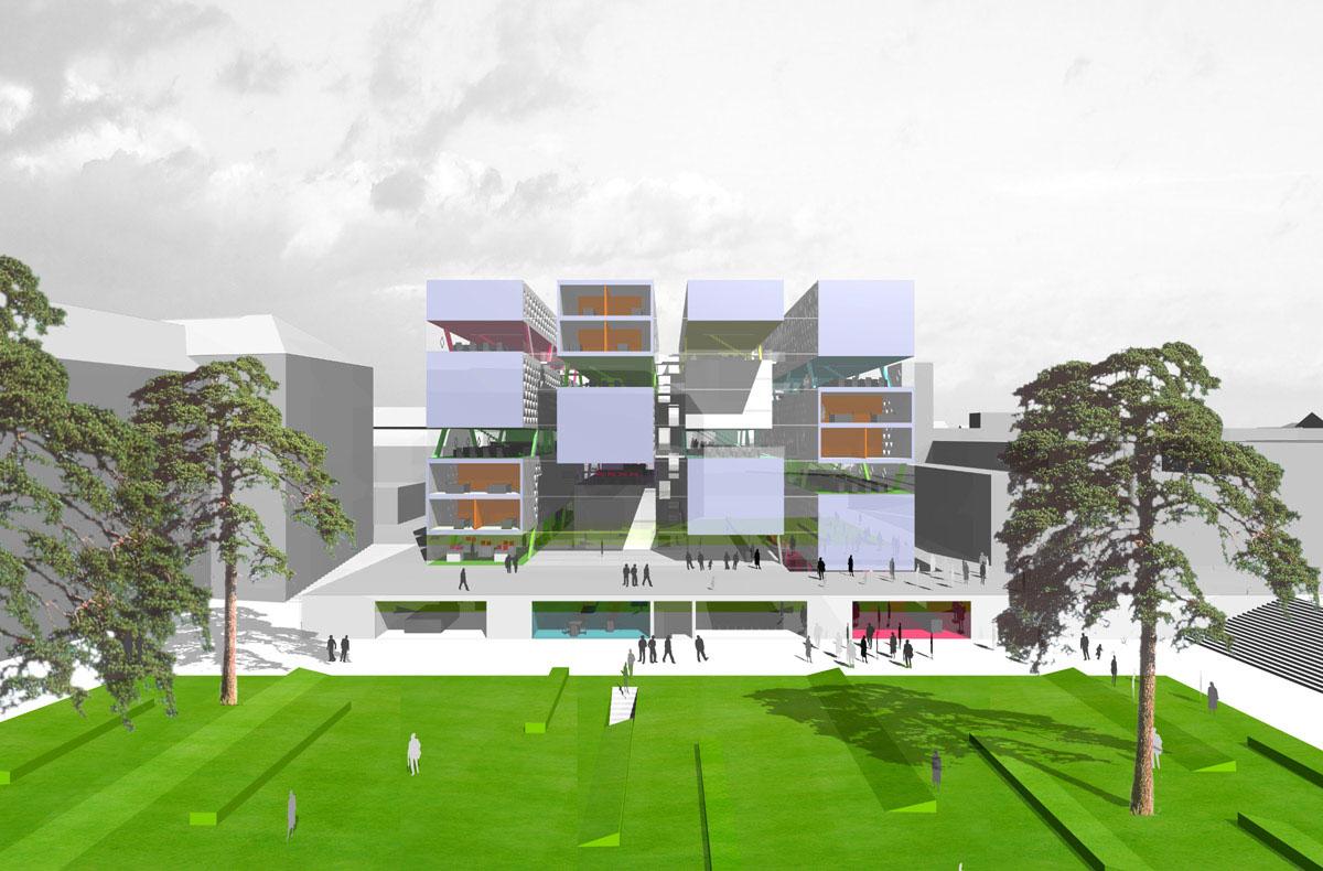 Visualisierung des Neubaus der Universitäts- und Landesbibliothek in Darmstadt aus Südwesten. Blick auf die Frontseiten der Bücherboxen.