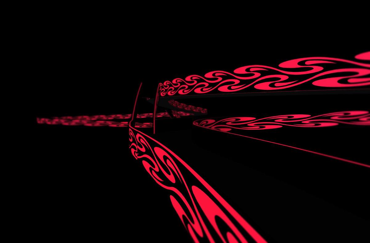 Darstellung der neuen Rad- und Fußwegebrücke bei Nacht. Das Lichtband aus Ornamenten, welches sich über die gesamten Außenseiten der Brücke zieht, tritt im Dunkeln deutlich hervor. Es erinnert an ein Jugendstilmotiv in Anlehnung an die Mathildenhöhe sowie den vorbeziehenden Lichtern auf einer Autobahn.