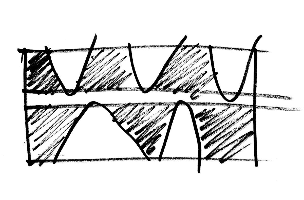 Skizzierter Konzept Grundriss für den Neubau einer Behindertenwerkstatt in Lorsch. Idee einer zentralen Begegnungsachse, die die unterschiedlichen Bereiche erschließt und verbindet. Eingestanzte Höfe tragen zur Bereichsbildung bei.
