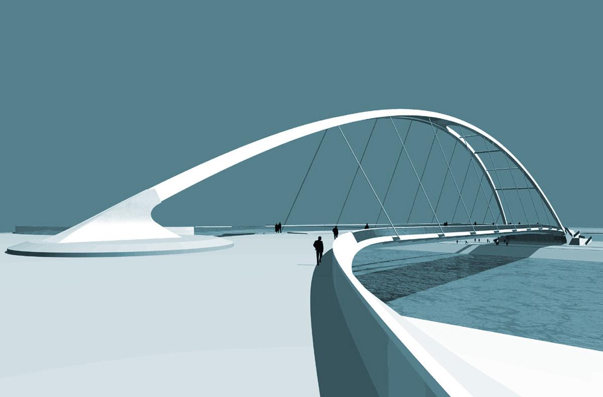 Visualisierung der neuen Honsellbrücke in Frankfurt am Main. Blick nach Süden. Vom nördlichen Ufer aus steigert sich die Bogenhöhe der Brücke und verzweigt sich am anderen Ufer in zwei Wiederlager. So wird Dynamik geschaffen.