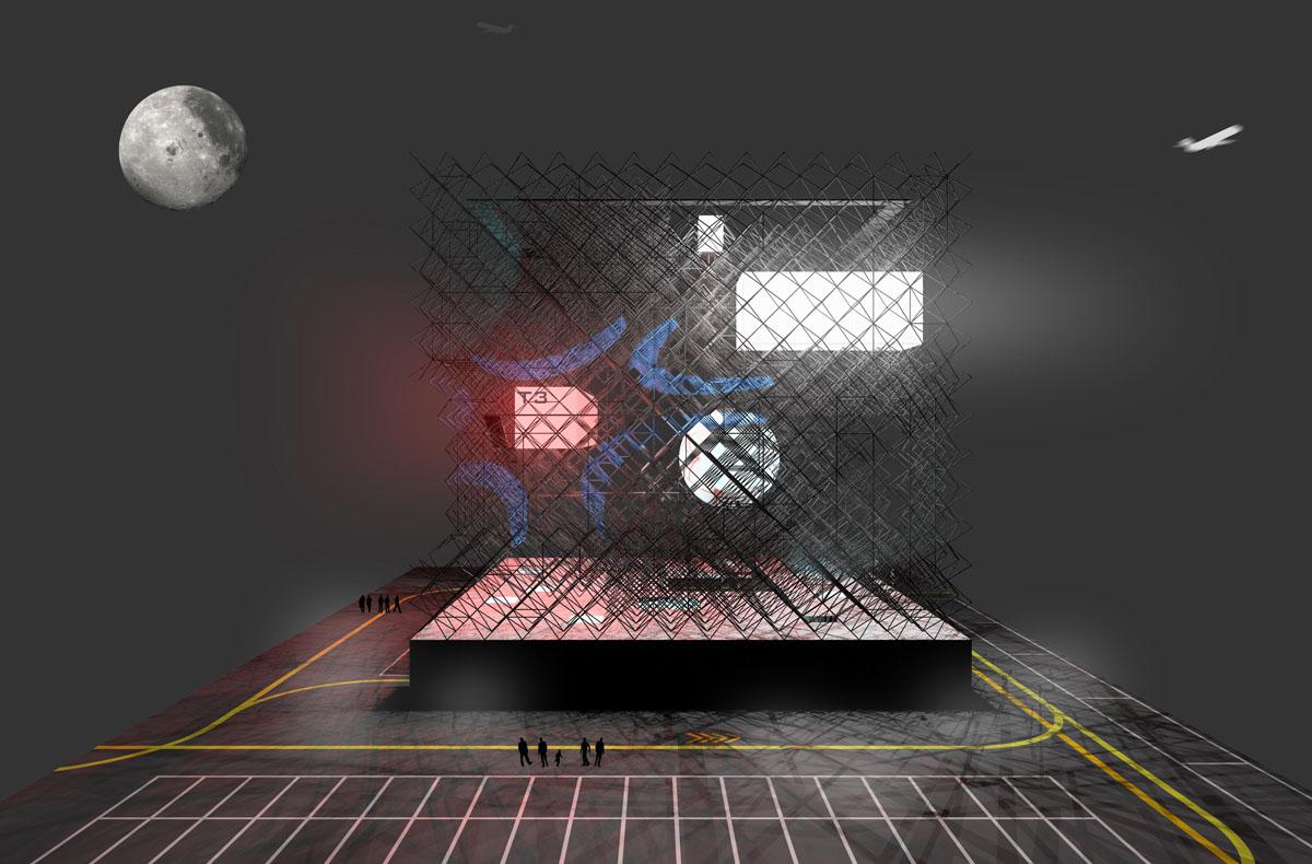 Visualisierung des Informationszentrums cosmos Fraport am Frankfurter Flughafen. Darstellung bei Nacht mit unterschiedlich farbiger Beleuchtung der schwebenden Körper, was den Eindruck des Weltalls mit Planeten vermittelt.