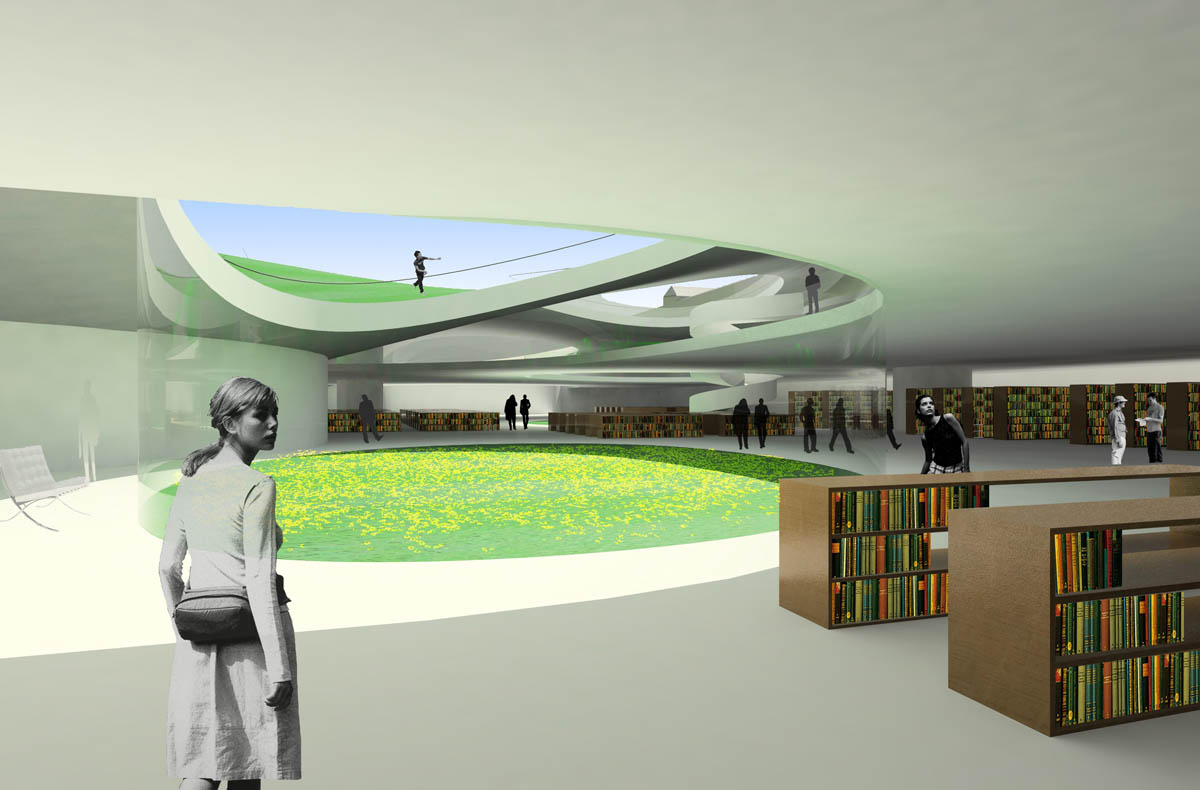 Visualisierung der Bibliothek der Universität Fulda im Zuge der Neugliederung. Die Bibliothek bildet sich als weitläufige Leselandschaft unter einem grünen Teppich mit eingeschnittenen Lichthöfen aus.