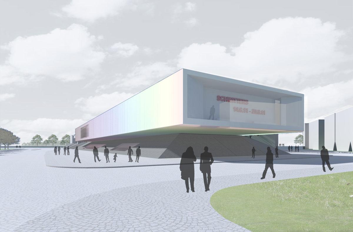 Visualisierung des Kopfendes des neuen Anbaus an das Sprengel Museum in Hannover. Blick auf die Auskragung im Süden des langgestreckten Bau, als neues Aushängeschild für das Museum.