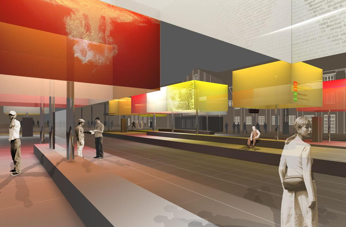 Visualisierung zur Neugestaltung des Bahnhofvorplatzes in Karlsruhe. Lichtkuben auf Edelstahlstützen entlang der Schienen. Durch unterschiedliche warme Farben entsteht eine Lichtlandschaft mit sonniger Atmosphäre.