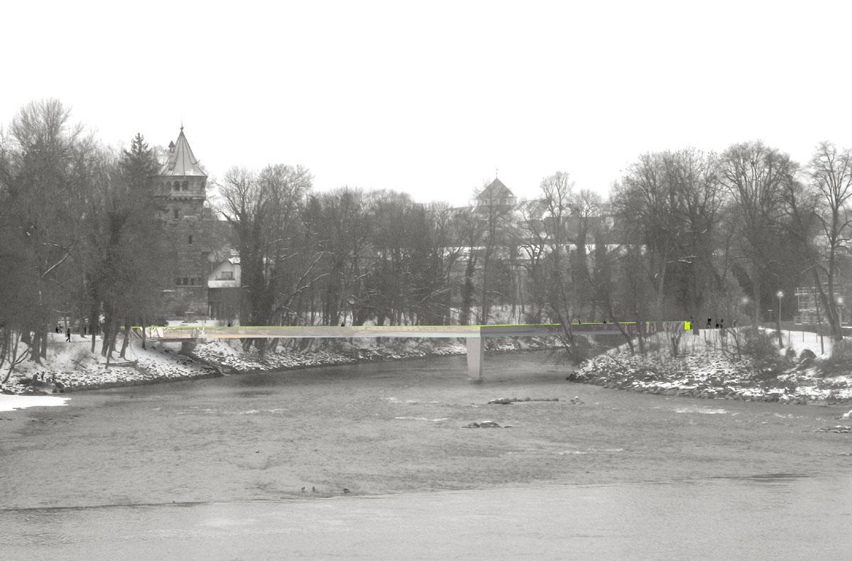 Visualisierung der neuen Brücke über den Lech bei Landsberg. Beide bewaldeten Uferseiten sind erkennbar, dahinter sieht man die Spitze des Mutterturms.