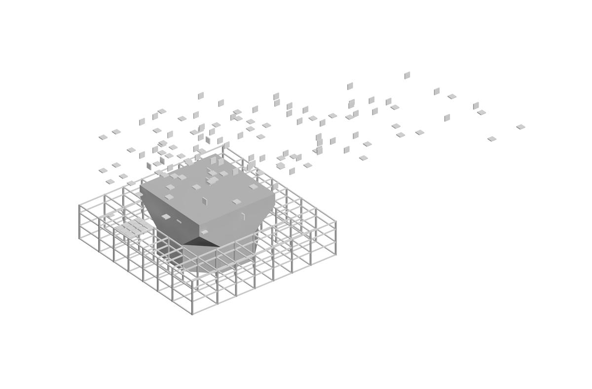 Isometrische Darstellung des Grundprinzips im Zuge der Modernisierung der Stadthalle in Karlsruhe. Ein Skelettbau mit eingestelltem Kubus, dessen Ecken abgeschrägt sind. Quadratische Partikel dominieren das Konzept der Halle als Grundform.