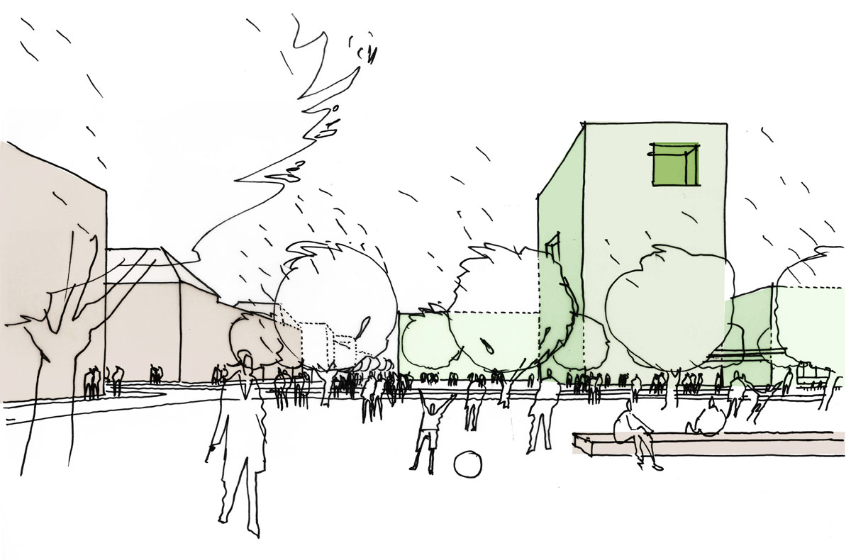 Skizzierte Perspektive aus dem Wettbewerb um das städtebauliche konzept des Turley Areals in Mannheim. Blick vom Eisenlohrplatz auf den neu entstandenen Eingangsplatz und dsa Hochhaus auf dem Turley Areal