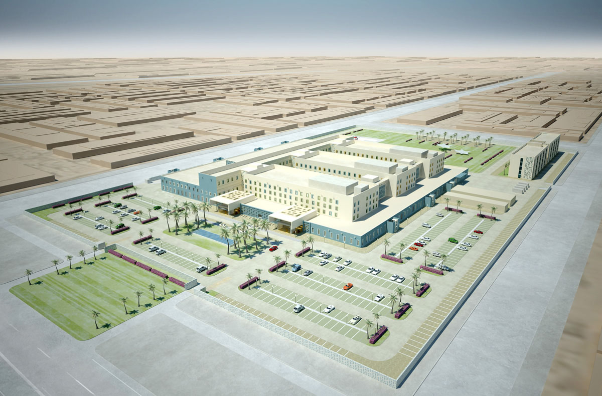 Visualisierung des Lehrkrankenhauses in Najaf, Irak. Blick aus der Vogelperspektive auf das ganze Areal des Krankenhauses.