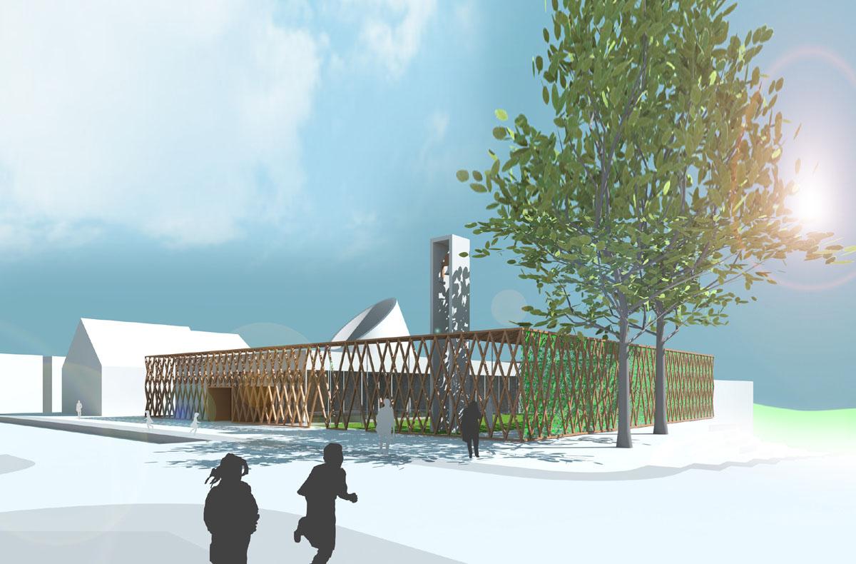 Visualisierung des evangelischen Gemeindezentrums in Malsch. Von außen wirkt das Gemeindezentrum kompakt, durch eine einheitliche Fassade, die sowohl Innen- als auch Außenraum fasst und nur in ihrer Verdichtung variiert.