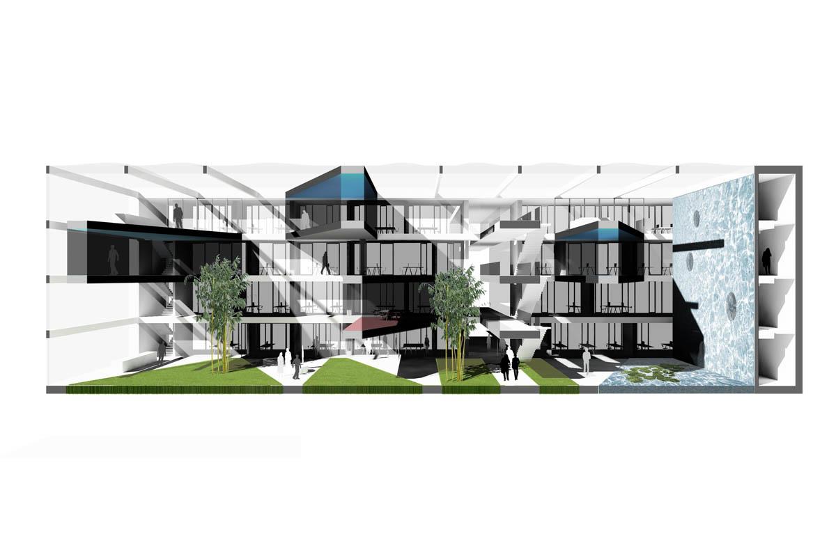 Perspektivischer Schnitt aus dem Wettbewerb der Goldbeck GmbH zur Standortoptimierung. Geschnitten wird die Winterhalle, ein überdachter Innenhof, des Bürogebäudes.