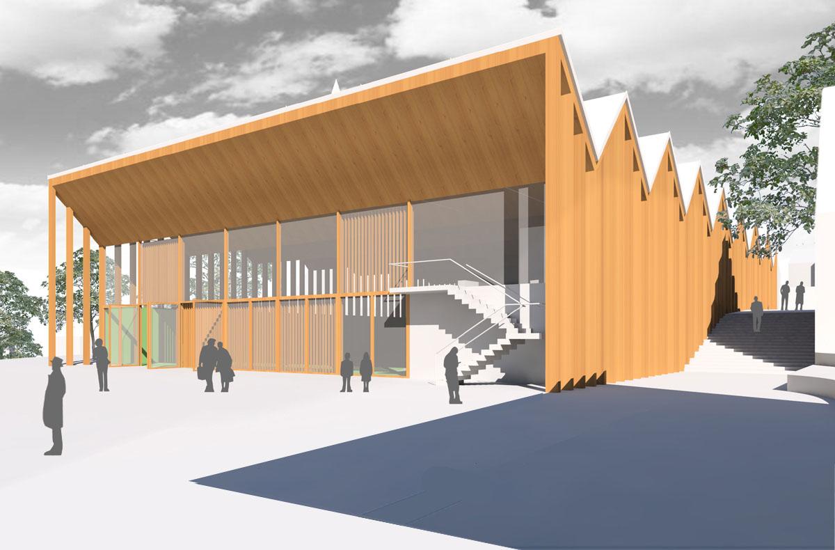 Perspektive aus dem Wettbewerb der Sporthalle in Lützelsachsen. Blick auf die Fassade zum Festplatz im Westen.