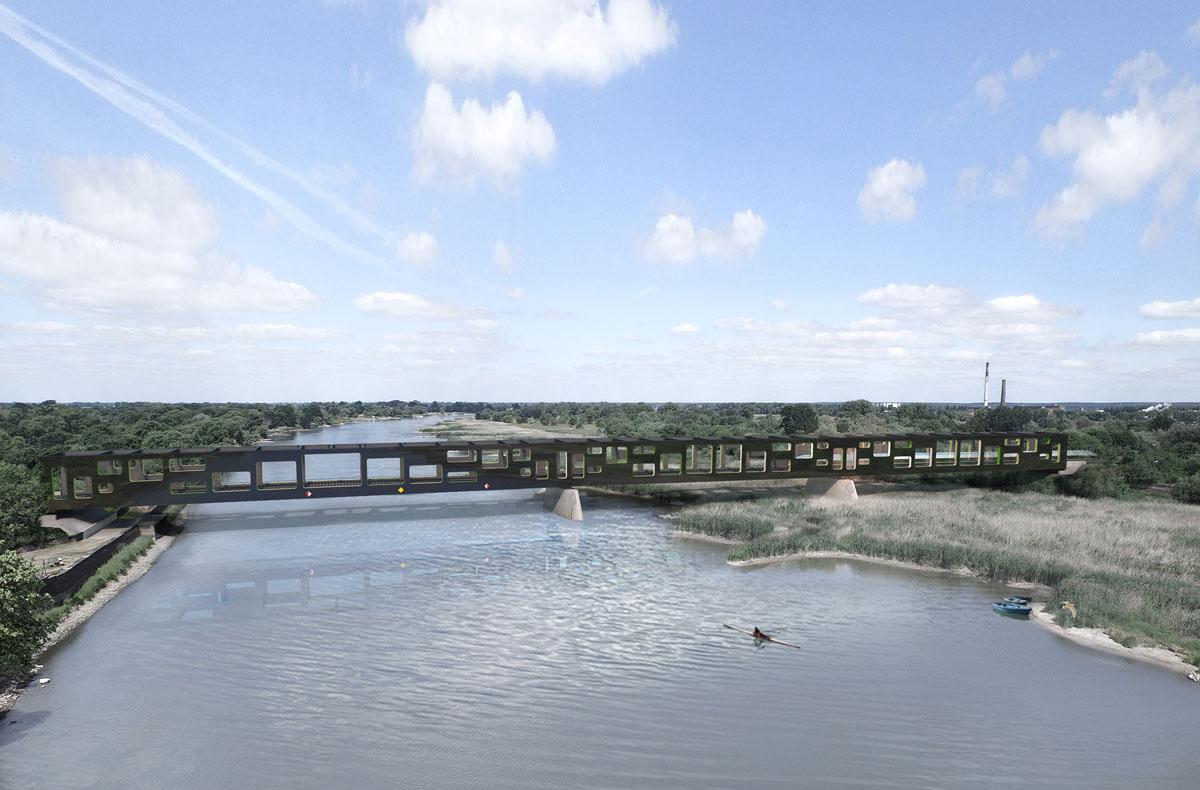 Bild aus dem Wettbewerb Neubau der Oderbrücken in Küstrin. Visualisierung des zweiten Entwurfs Oderrahmen. Geometrischer Rahmenbau überspannt die Oder. Durch Wechseln der Öffnungen variiert der Blick auf die Landschaft für den Reisenden.