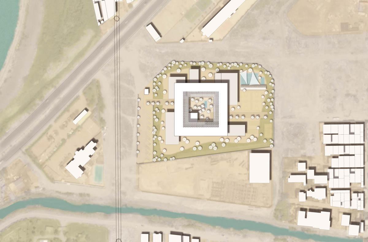 Lageplan aus dem Wettbewerb Deutsche Schule der Borromäerinnen in Alexandria. Die Schule ist als schwebendes Atrium gestaltet und sticht aus dem Stadtbild hervor.