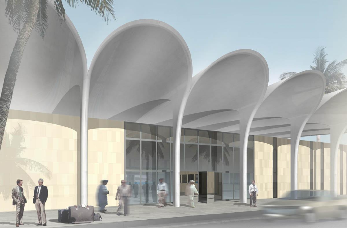Visualsierung des Bahnhofs an der neuen Hochgeschwindigkeitsstrecke in El Bayadh, Algerien. Blick auf den Haupteingang zu den Schaltern und der Wartehalle. Durch die Rundungen im Dach werden Tore gebildet, die den Reisenden in das Gebäude leiten.