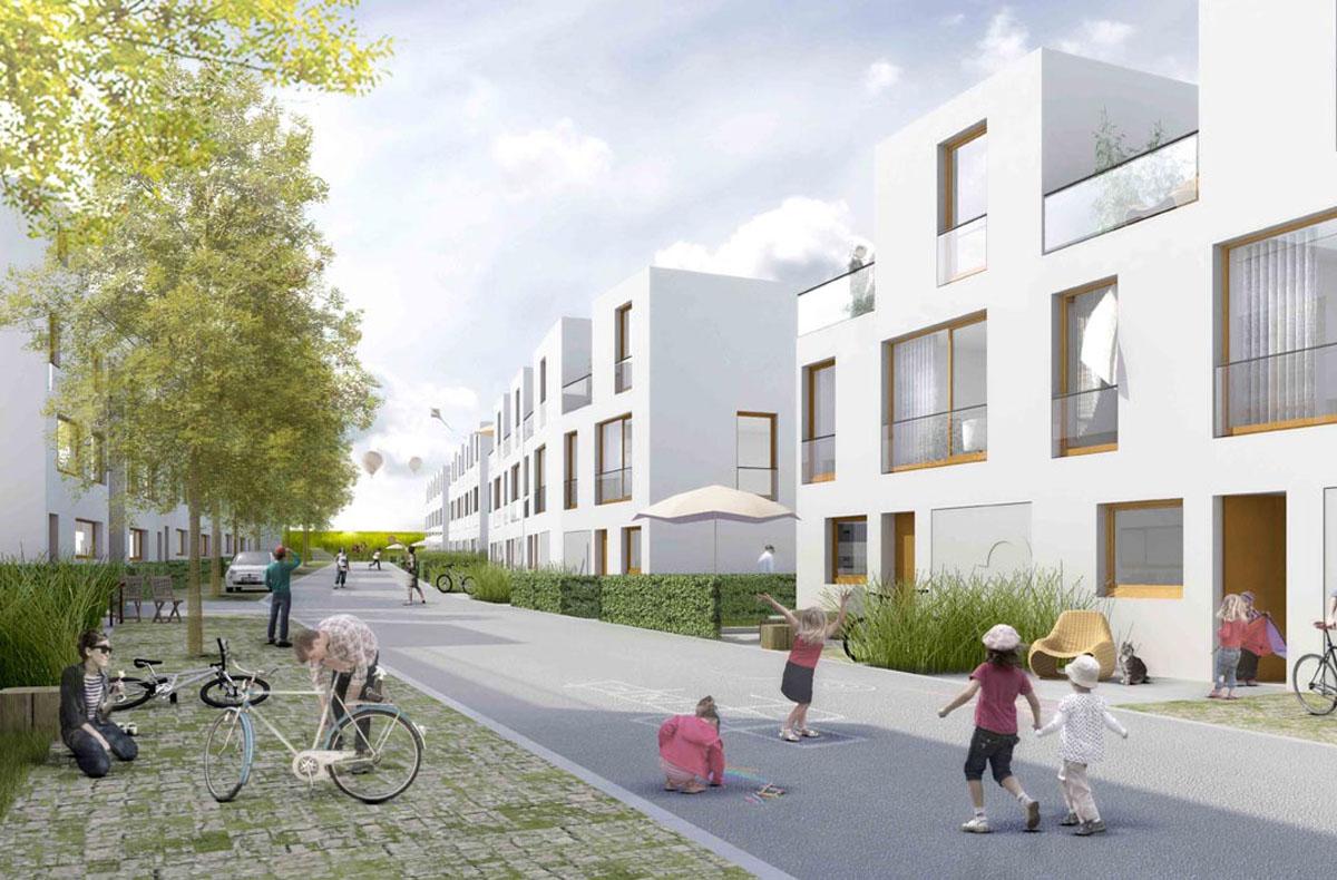 Realistische Visualisierung des Wohnquartiers Wohnen im Hochfeld in Düsseldorf-Unterbach. Blick in eine Straße locker bebaut mit Wohngebäuden, die im Feld endet. Straßen sind als Freiräume nutzbar.