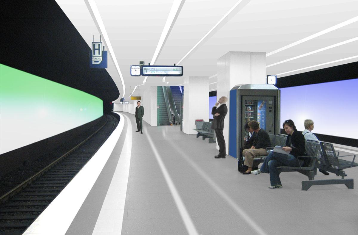 Visualisierung des Bahnsteigs der U-Bahnstation Taunusanlage in Frankfurt am Main. Die farbige Zuordnung zu den angrenzenden städtebaulichen Räumen an der Oberfläche, Park und Bebauung, zieht sich auch hier an den Wänden hinter den Gleisen als Farbverlauf fort. Dadurch kann man sich auch im Untergrund orientieren.