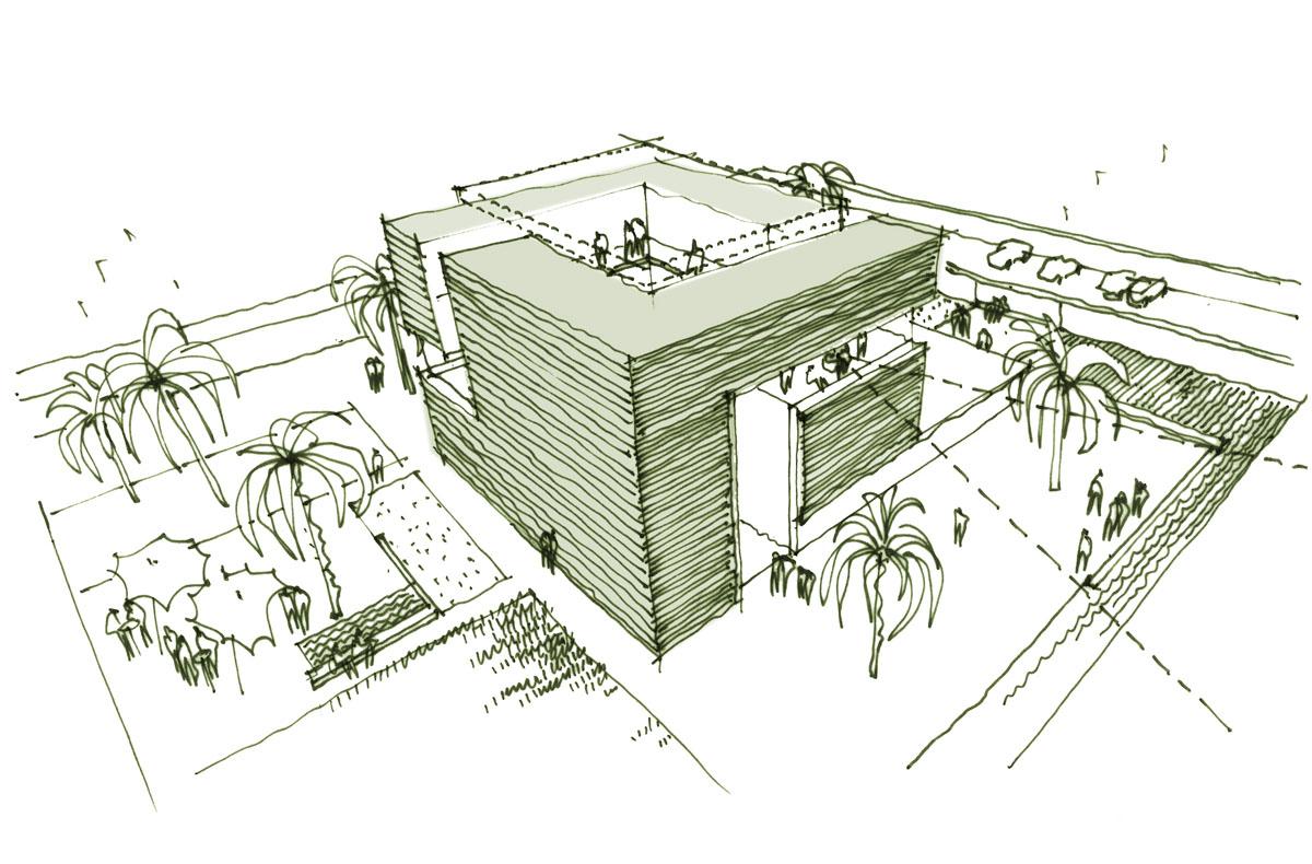 Skizzierte Perspektive der deutsch-französischen Gemeinschaftskanzlei in Khartum, Sudan. Darstellung der festen Fassaden des kubischen Baukörpers, Fassaden in den Erschließungsbereichen wurden offen gelassen. Dadurch wird das Konzept der Fassade und des Innenhofs deutlich.